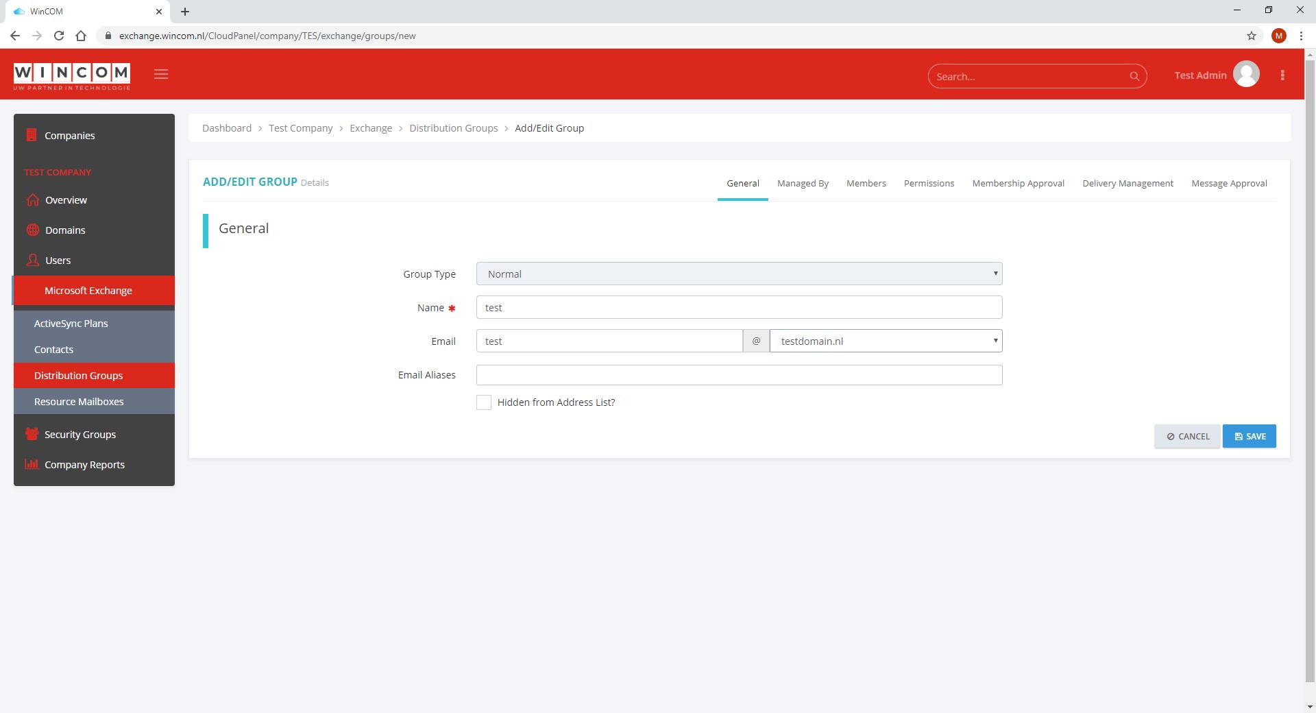 beheerpaneel basichost hosted exchange